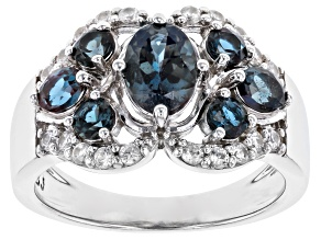 Blue Lab Created Alexandrite Rhodium Over Silver Ring 1.93ctw