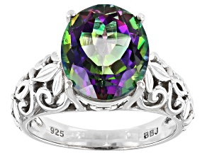 Mystic Fire(R) Green Topaz Rhodium Over Silver Ring 4.96ct