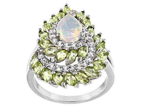 Multi-color Ethiopian Opal Rhodium Over Silver Ring 2.54ctw