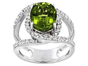 Green Peridot Rhodium Over Silver Ring 4.07ctw