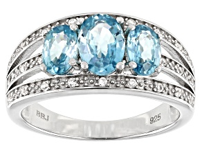 Blue Zircon Rhodium Over Silver Ring 2.44ctw