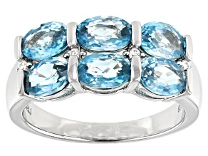 Blue Zircon Rhodium Over Silver Ring 4.75ctw