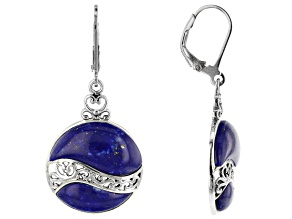 Blue lapis lazuli rhodium over sterling silver earrings