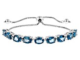 Blue Topaz Rhodium Over Sterling Silver Bolo Bracelet 7.19ctw