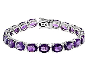 Purple Amethyst Rhodium Over Silver Tennis Bracelet 28.98ctw