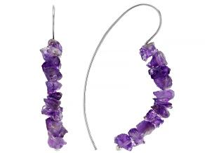 Purple amethyst rough rhodium over sterling silver earrings