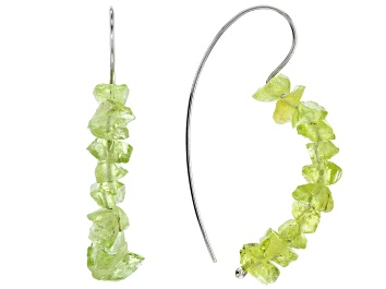 Picture of Green Manchurian Peridot(TM) rough rhodium over sterling silver earrings