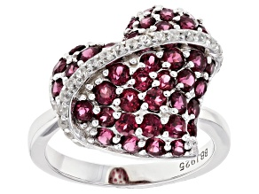 Raspberry Color Rhodolite Rhodium Over Sterling Silver Heart Ring 2.35ctw