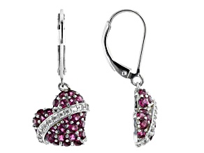 Purple rhodolite rhodium over sterling silver heart dangle earrings 1.88ctw