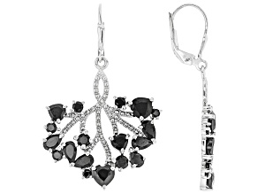 Black Spinel Rhodium Over Silver Earrings 4.96ctw