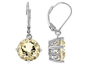 Yellow labradorite rhodium over sterling silver earrings 5.52ctw