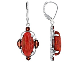 Red Sponge Coral Sterling Silver Earrings 1.63ctw