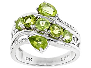 Green Peridot Rhodium Over Silver Bypass Ring 1.74ctw