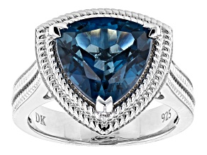 Blue Topaz Rhodium Over Sterling Silver Solitaire Ring 4.85ct