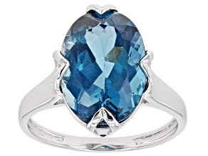 Blue Topaz Rhodium Over Silver Ring 6.38ct
