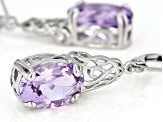 Lavender amethyst rhodium over sterling silver solitaire dangle earrings 6.55ctw