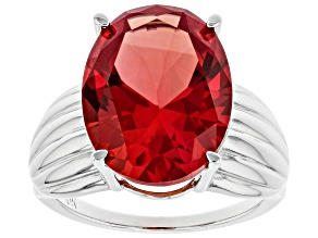 Pink Lab Created Padparadscha Sapphire Rhodium Over Silver Ring 9.06ct