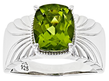 Picture of Green Peridot Rhodium Over Sterling Silver Ring 2.76ct