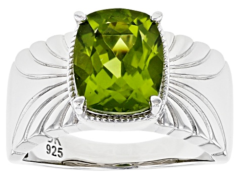 Green Peridot Rhodium Over Silver Ring 2.76ct