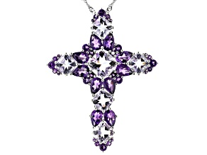 Purple Amethyst Rhodium Over Silver Cross Pendant with Chain 9.38ctw