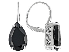 Black Spinel Rhodium Over Sterling Silver Earrings 9.54ctw
