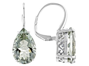 Green Prasiolite Rhodium Over Silver Drop Earrings. 7.06ctw