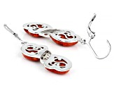 Red sponge coral rhodium over sterling silver earrings