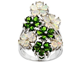 Multi-color  Ethiopian opal rhodium over sterling silver floral ring 3.42ctw