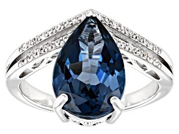 Picture of London Blue Topaz Rhodium Over Sterling Silver Ring 4.50ctw