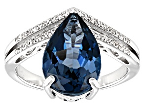 London Blue Topaz Rhodium Over Sterling Silver Ring 4.50ctw