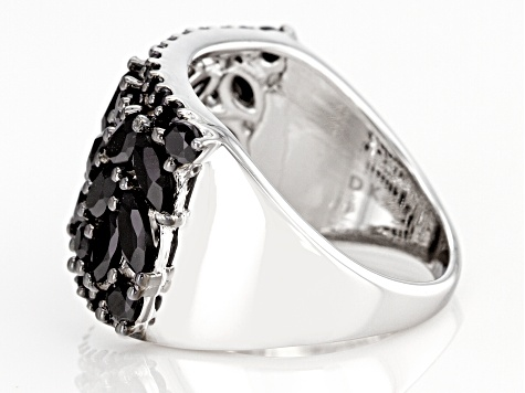 Black Spinel Rhodium Over Silver Ring 3.01ctw