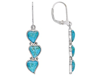 Picture of Blue Turquoise Rhodium Over Silver Earrings