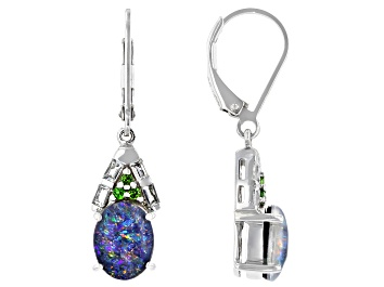 Picture of Multi-color Australian Opal Triplet Rhodium Over Silver Earrings .39ctw