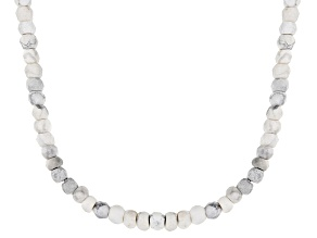 White howlite simulant bead strand sterling silver necklace