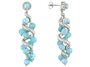 Blue Larimar Rhodium Over Silver Earrings .38ctw