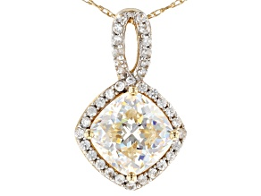 White Fabulite Strontium Titanate And White Zircon 10K Yellow Gold Pendant 2.20ctw