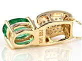 Green Ethiopian Emerald 10K gold slide with chain 1.24ctw