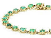 Green Ethiopian Emerald 10K yellow gold Bracelet  4.48ctw