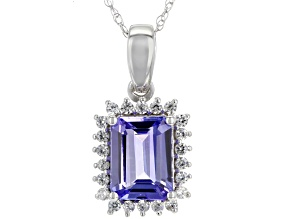 Blue tanzanite 10k white gold pendant with chain 1.63ctw
