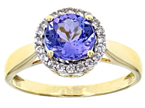 Blue tanzanite 10k gold ring 1.53ctw
