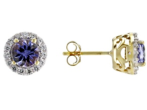 Blue tanzanite 10k gold stud earrings 1.42ctw