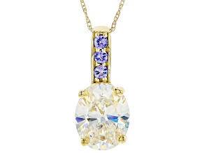 Fabulite Strontium Titanate And White Zircon 10K  Yellow Gold Pendant With Chain 3.41ctw