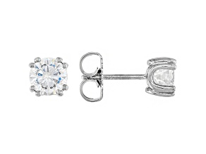 Moissanite Platineve Stud Earrings 1.00ctw DEW