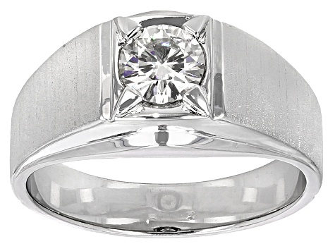 Moissanite Fire® 1.00ct Diamond Equivalent Weight Round Platineve™ Solitaire Gents Ring