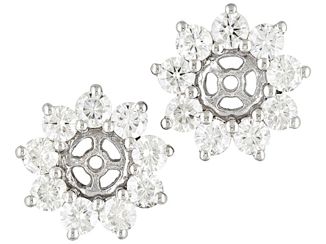 Womens Earrings Jackets Moissanite 1 10ctw Platineve Fits 5mm Studs