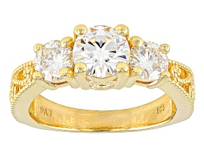Moissanite 14k Yellow Gold Over Silver Ring 2.00ctw DEW