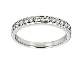 White Moissanite Round Platineve Band .45ctw