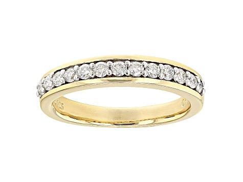 White Moissanite 14k Yellow Gold Over Sterling Silver Band Ring .45ct