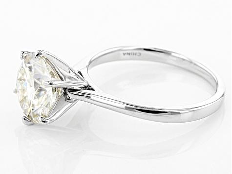 Moissanite Platineve Solitaire Ring 3.10ct DEW