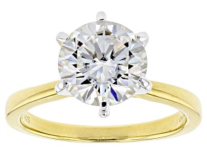 Moissanite 14k Yellow Gold Over Sterling Silver Solitaire Ring 3.10ct DEW